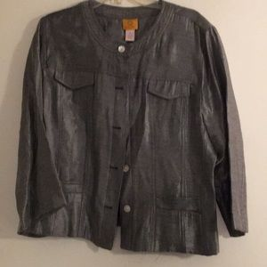 Ruby Road Silver Metallic Jacket SZ 18